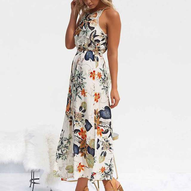 Women Summer Dress Sleeveless Belted Jacket Tunic Maxi Dress Womens Floral Print Boho Beach Dress Fashion Party Dresses