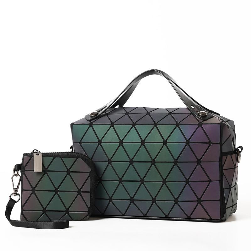 7383ee1ec4fe83 2 Bolasa Nachtleuchtende Frauen Verbund Schulter Mädchen Handtaschen  Geometrie Leucht Tasche Klapp Mode Taschen Einfachen 4RL3Aq5j