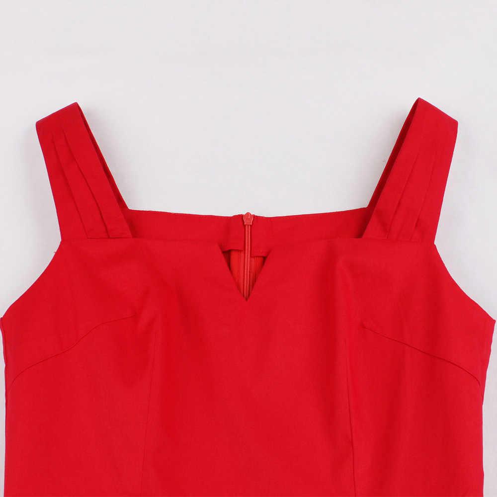 Joineles 60 S Audrey Hepburn Vintage Gaun Elegan Pin Up Merah Gaun Retro Rockabilly Ayunan Musim Panas Pesta Vestidos Wanita Jubah gaun