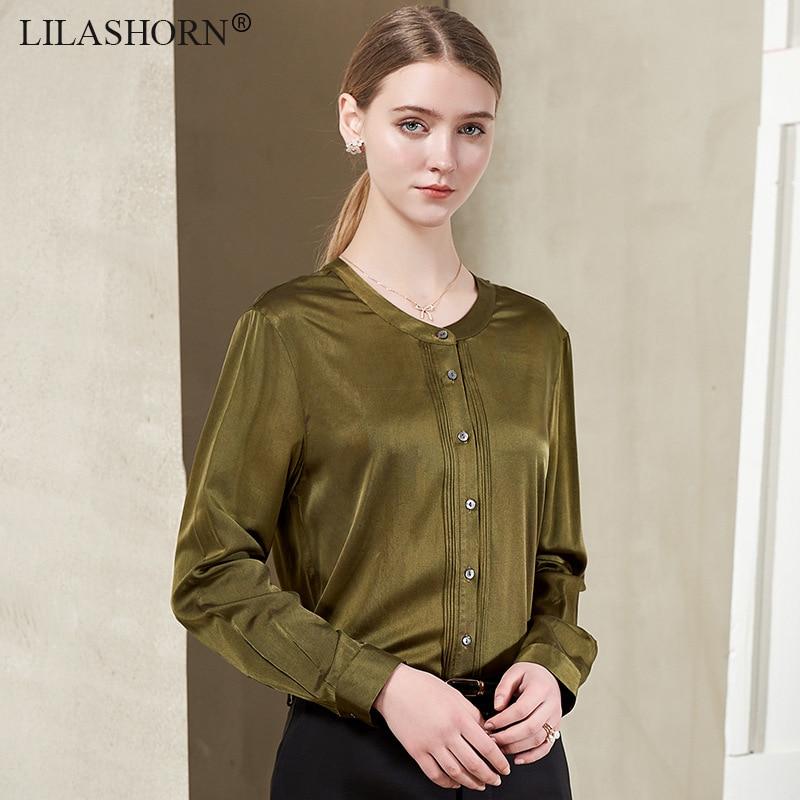 Однотонная 100% Шелковая Женская Офисная Рабочая блузка рубашка Топы