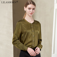 solid 100% silk women office lady work blouse shirt tops