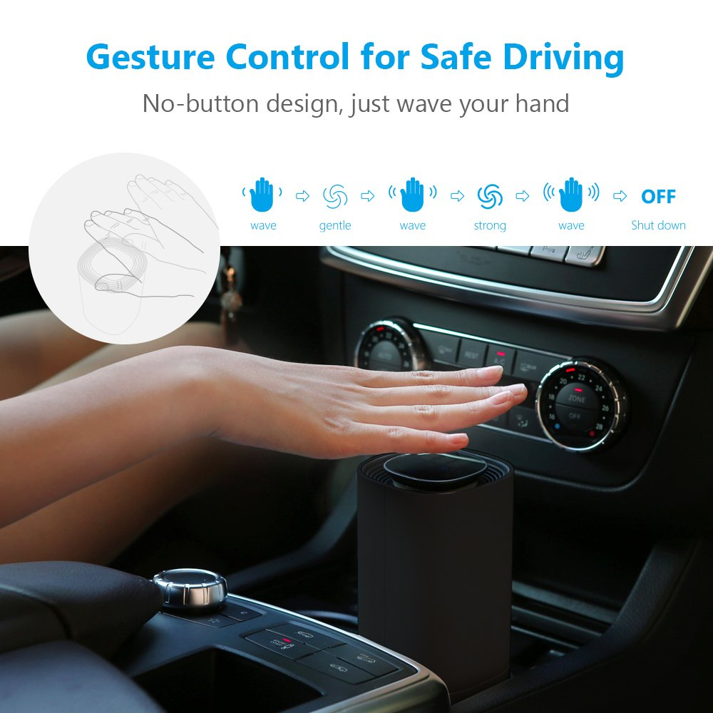 Portable Gesture Control Anion Sterilization Car Air Purifier Air Cleaner Negative Ionizer. Removes Dust Pollen Cigaret Smoke  Portable Gesture Control Anion Sterilization Car Air Purifier Air Cleaner Negative Ionizer. Removes Dust Pollen Cigaret Smoke