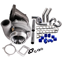 Anti Surge GT3582 GT35 T3 Flange AR 0.63 Water Turbo + 3 76mm Intercooler Pipe Universal Turbocharger T3 Flange 4 Bolts .7A/R