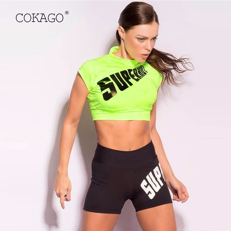 Methodical Cokago Neon Letter Women Shirt For Fitness Elastic Sports Top Vital Workout Tops For Women Yoga Top 2019 Gym Short Vest Female To Suit The PeopleS Convenience Fitness & Body Building