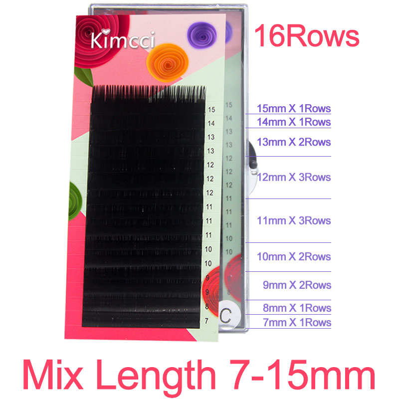 Kimcci 16Rows 7-15mm Mix Faux Eyelash Extension Individual Silk Mink Eyelashes Professional Natural 3D Volume Cilia Long Black