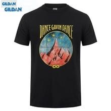лучшая цена GILDAN Short Sleeve T-shirt Tops Dance Gavin Dance Men's Mountain Stars T-shirt Black