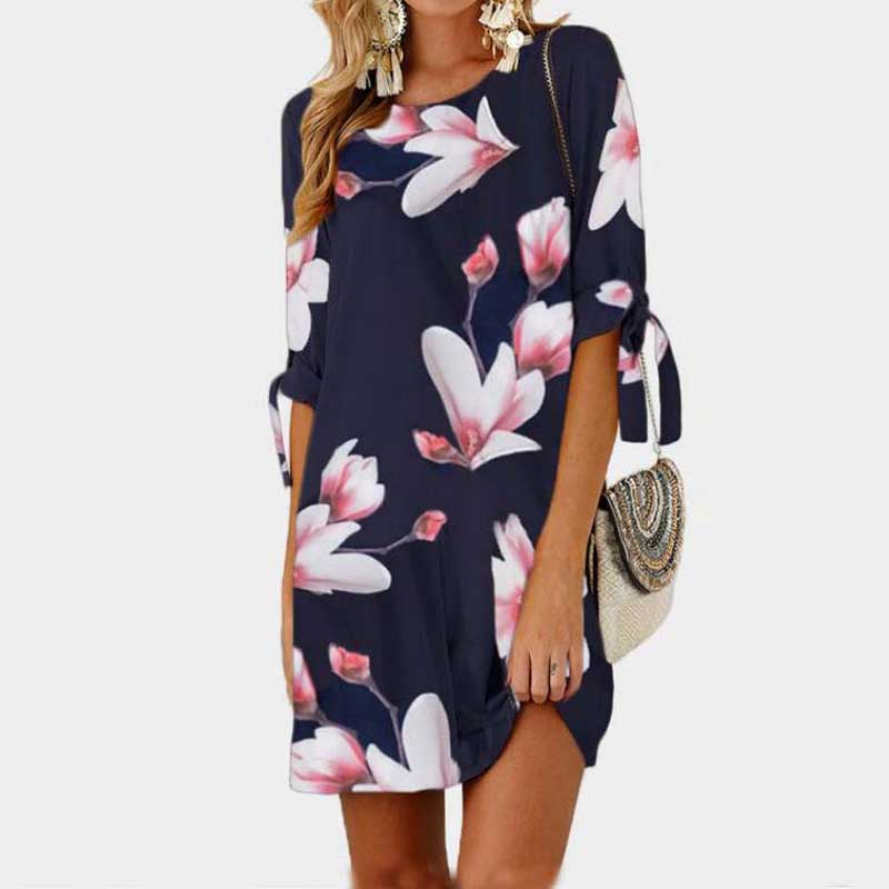 2020 Oversize Summer Dress Women Mini Floral Dress Ladies Short Party Dresses Female Plus Size Loose Beach Dress Big Size 4XL