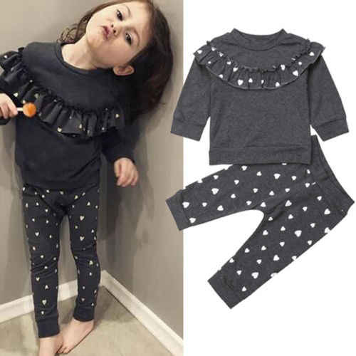 Fashion Heart 2PCS Baby Girls Toddler Ruffle T-shirt+Leggings Pants Outfits Clothes Set 0-4T