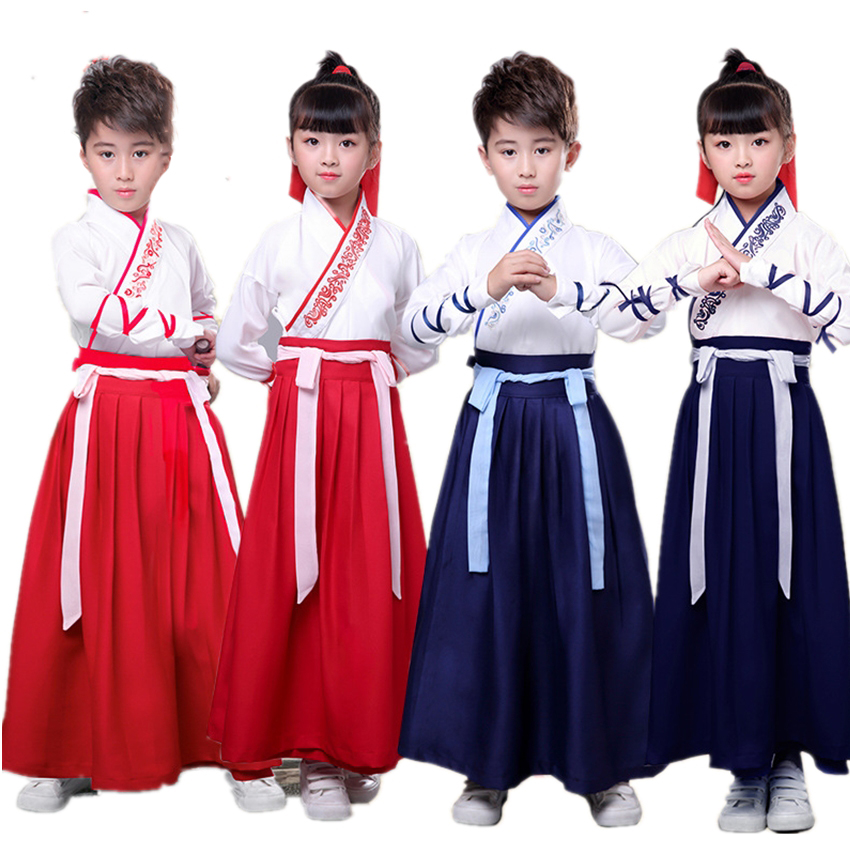110-180cm Hanfu Holiday Chinese Dance Costume Kid Ancient Bachelor Team Knight Disguise Girl Boy Party Festival Outfit Vestidos Fancy Colours
