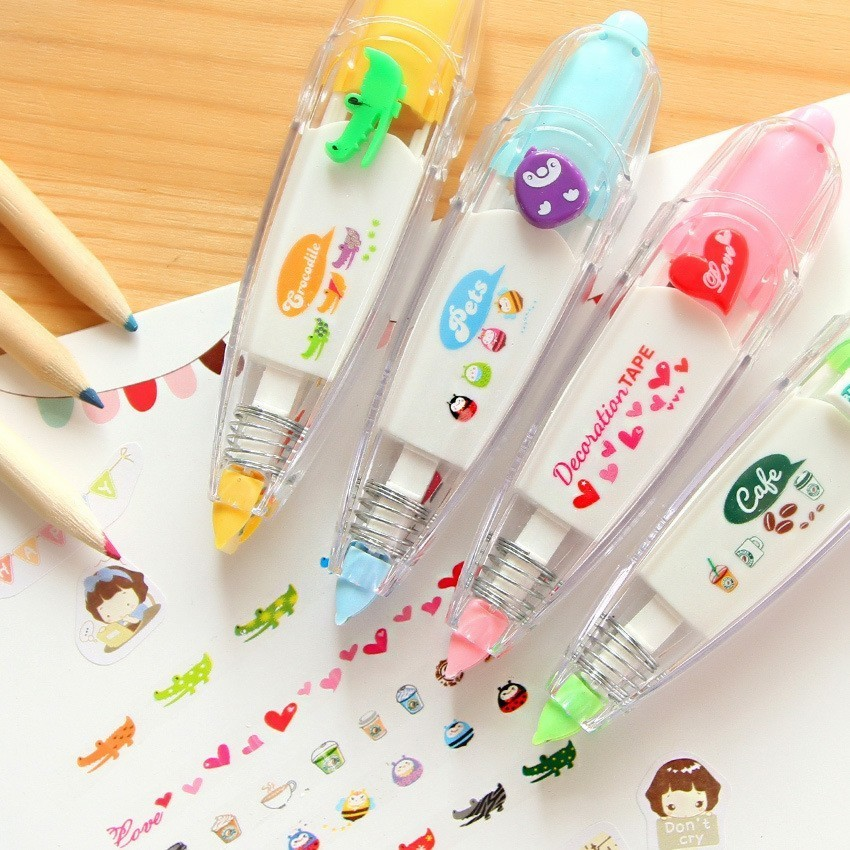 Kawaii Heart Animals Press Type Decorative Correction Tape Diary Stationery School Supply Students Gifts Escolar Papelaria 4M