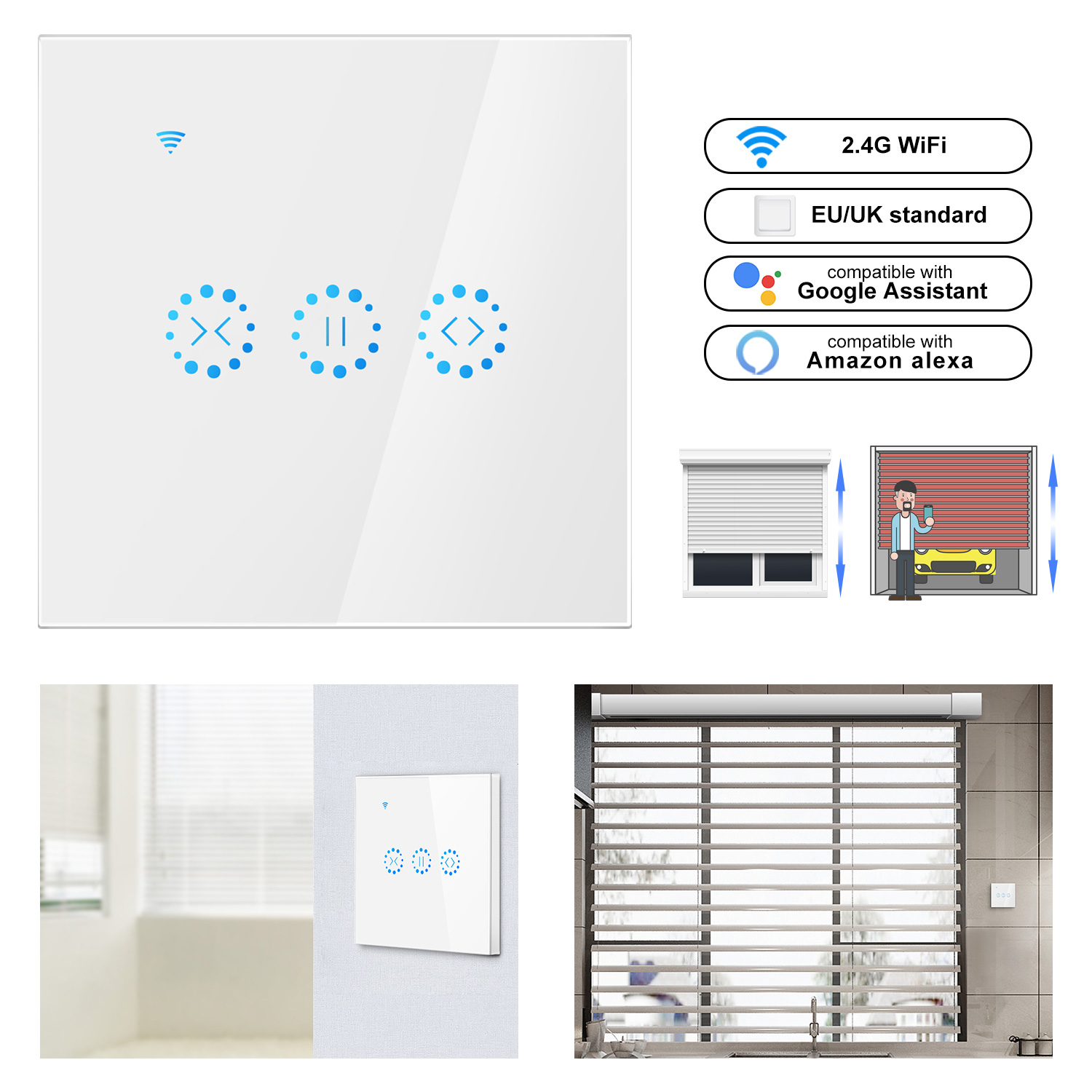 Smart Home WiFi Electrical Touch Curtain Switch Ewelink APP Voice Control By Alexa