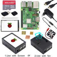 Raspberry Pi 3 Modelo B + pantalla táctil LCD de 3,5 pulgadas + carcasa ABS + tarjeta SD de 32GB + adaptador de corriente 3A + disipadores de calor + HDMI para RPI 3B Plus