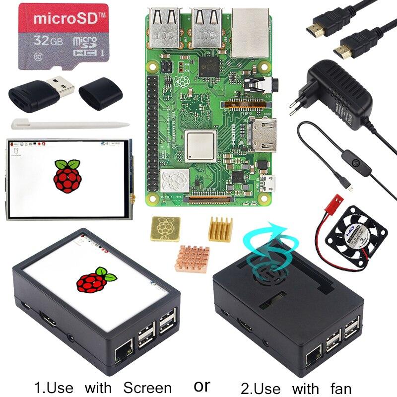Raspberry Pi 3 modèle B + écran tactile LCD 3.5 pouces + boîtier ABS + carte SD 32 go + adaptateur secteur 3A + dissipateurs + HDMI pour RPI 3B Plus