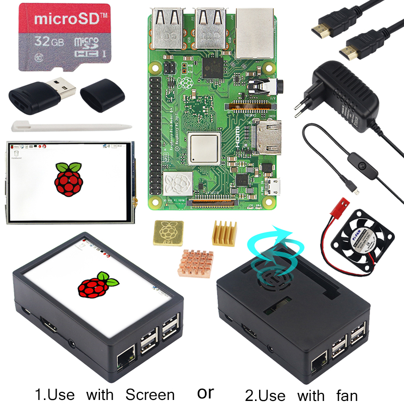 Raspberry Pi 3 Modèle B + 3.5 pouces Écran Tactile LCD + ABS Cas + 32 GB SD Carte + 3A adaptateur secteur + Dissipateurs + HDMI pour RPI 3B Plus