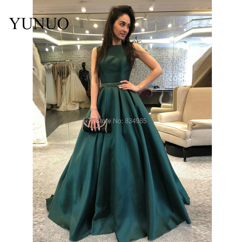 66f7b6c06b Detail Feedback Questions about Green Prom Dresses 2019 A Line Satin Beaded  Backless Elegant Long Formal Evening Gown Prom Dress robe de soiree on ...