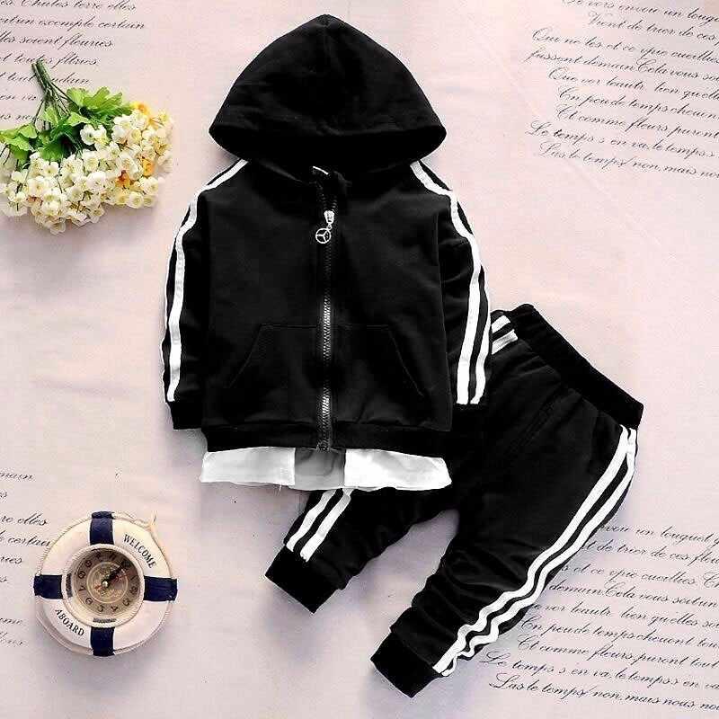 ae0889ca 2019 Spring Baby Casual Tracksuit Children Boy Girl Cotton Zipper Jacket  Pants 2Pcs/Sets Kids