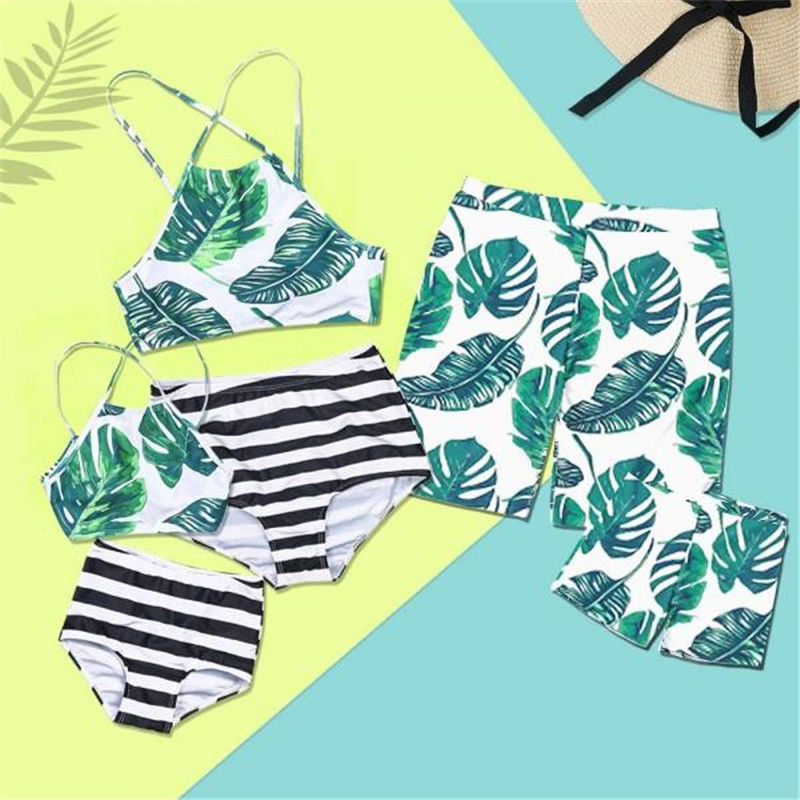 Family Matching Swimwear Mother Daughter Swimsuit Father Son Trunks Women Girls Halter Bikini Men Boy Leaves Shorts Bathing Suit