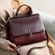 Leather portable bag female cowhide commuter bags diagonal double-sided women new T226