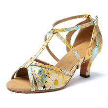 fab66656158 Chaussures de danse pour femmes adultes nouveau Style fleur motif dames  chaussures de danse latine salle de bal Salsa chaussures.