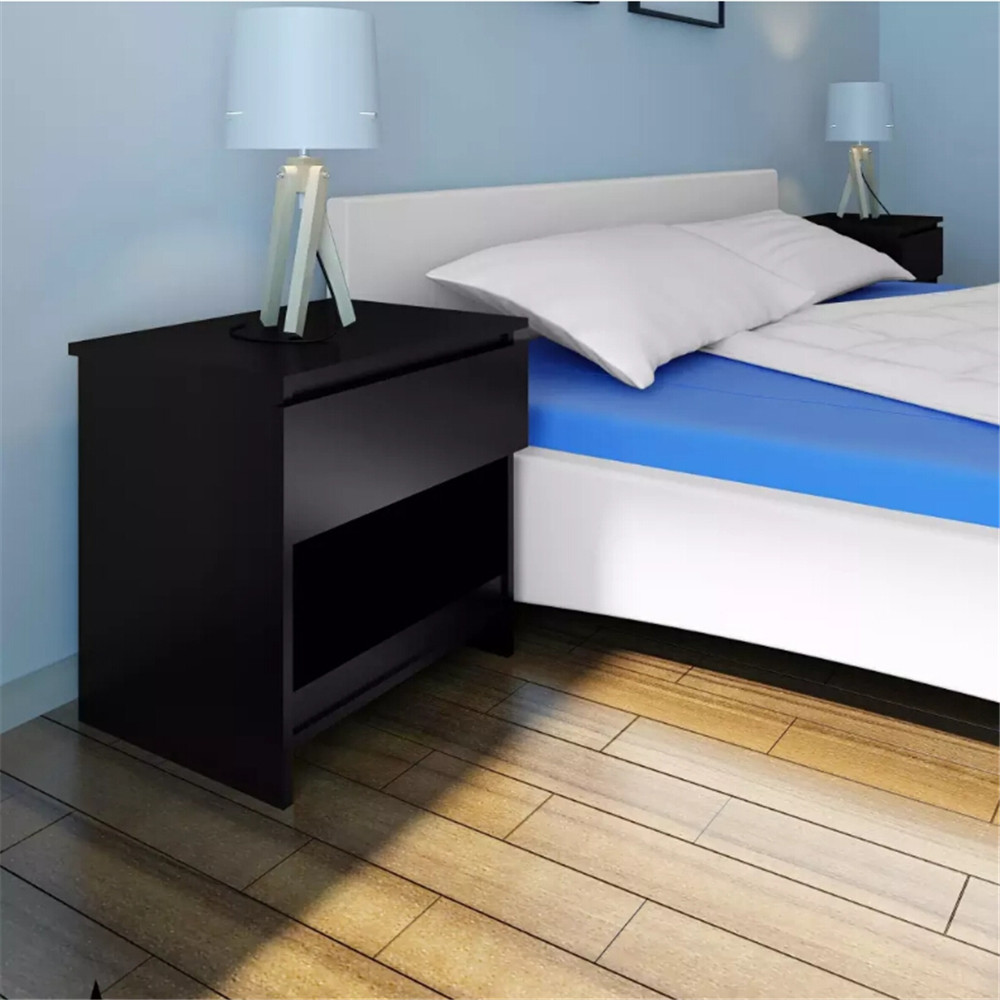 VidaXL 2 Pcs Nightstand With One-Drawer Black Bedroom Furniture Modern Design Assembly Bedside Table Nightstands Home Furniture