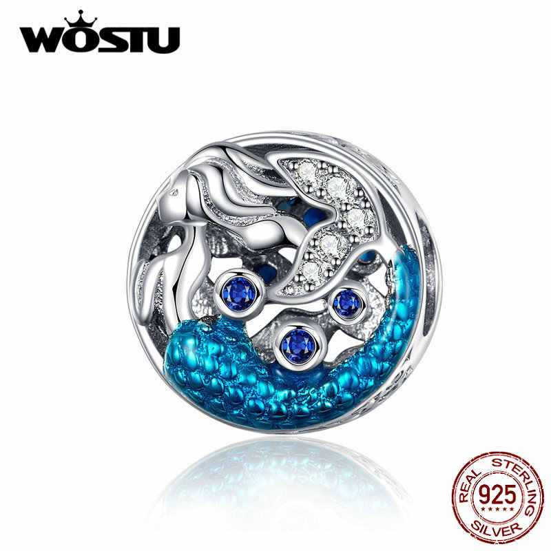 WOSTU Mermaid Beads 925 Sterling Silver Blue Enamel CZ Charm Fit Original DIY Bracelet Pendant Beads For Jewelry Making CQC1209