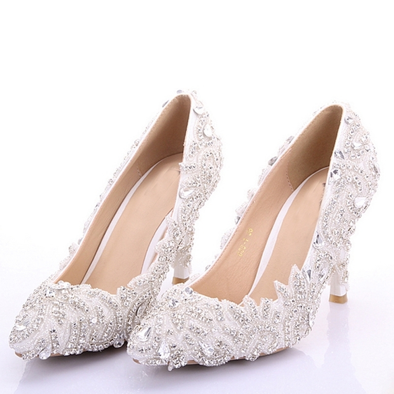 Rhinestone Formal Dress Shoes High Heel Thin Heel Bride Shoes Pointed Toe Wedding Party Shoes Beautiful Girl Adult Ceremony Shoe girls pearl beading rhinestone sandals princess square heel pointed toe dress shoes children wedding party formal shoes aa51329