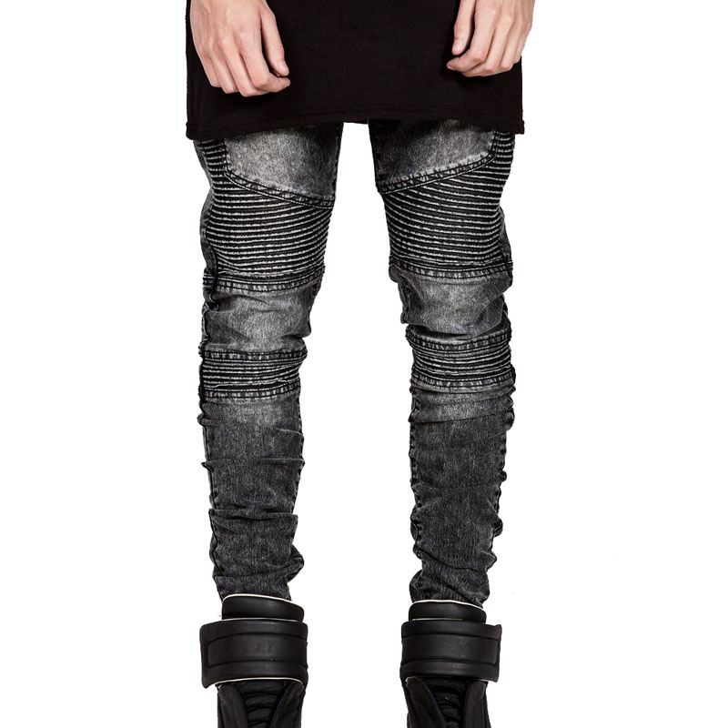 Mens Skinny Biker Jeans Men 2016 Hi Street Ripped Rider Denim Jeans Motorcycle Runway Slim Fit Washed Moto Denim Pants Joggers