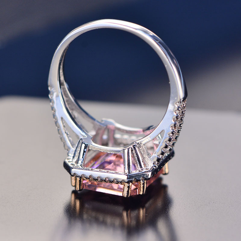 PANSYSEN 100 Solid 925 Silver Jewelry Rings For Women 10x12mm Pink Spinel Diamond Fine Jewelry Bridal PANSYSEN 100% Solid 925 Silver Jewelry Rings For Women 10x12mm Pink Spinel Diamond Fine Jewelry Bridal Wedding Engagement Ring