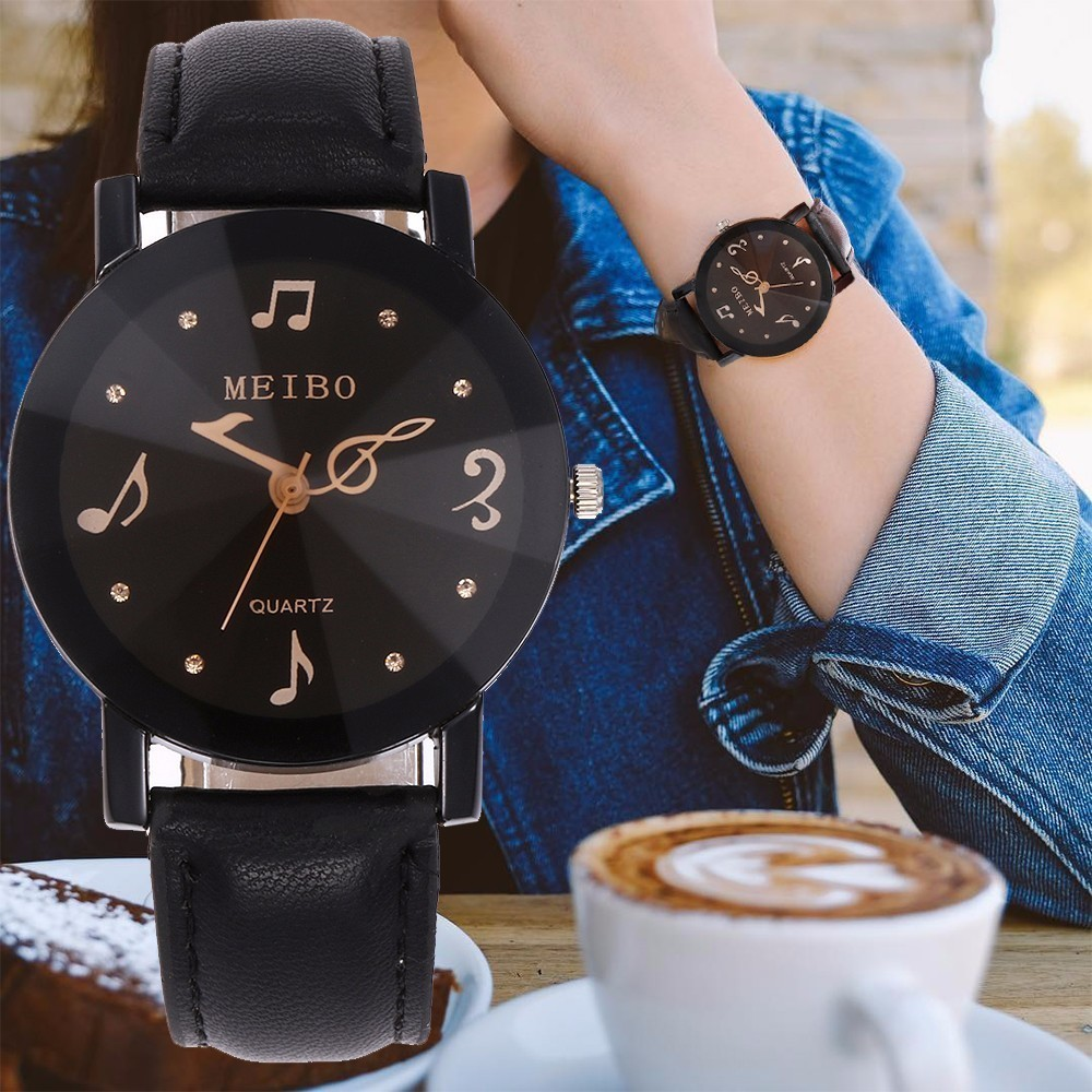 New Fashion Women Music Note Second Hand Watch Casual Leather Quartz Dress Watch Relogio Feminino MEIBO Brand