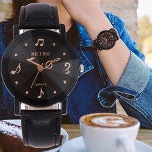 New Fashion Women Music Note Second Hand Watch Casual Leather Quartz Dr