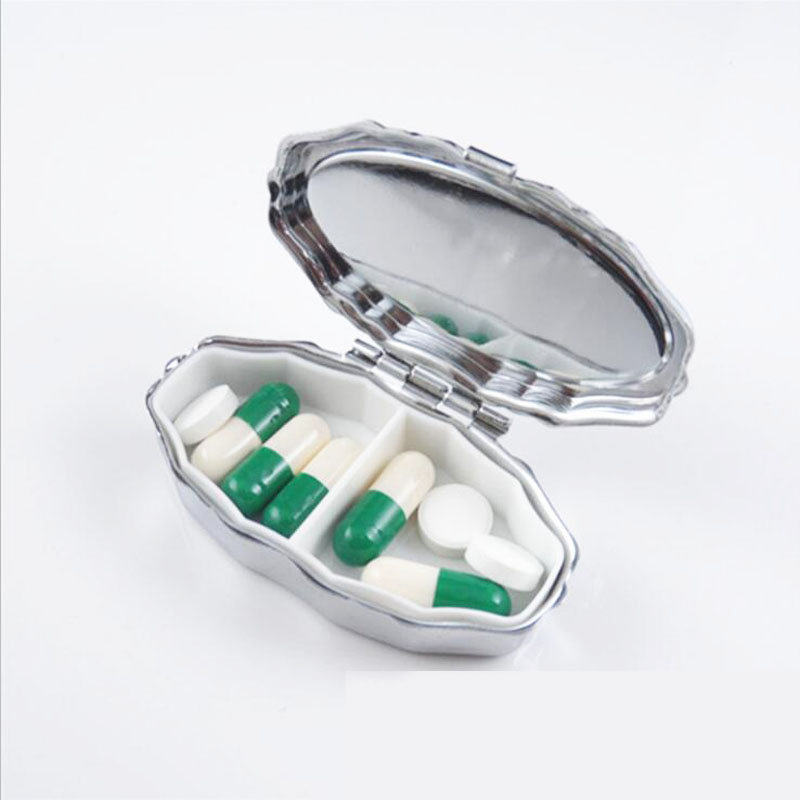 Unter Der Voraussetzung Metall Scallop Silber Pille Boxen Halter 2 Grids Medizin Fall Kleine Tragbare Fall Container Splitter Persönliche Gesundheit Pflege Mr106