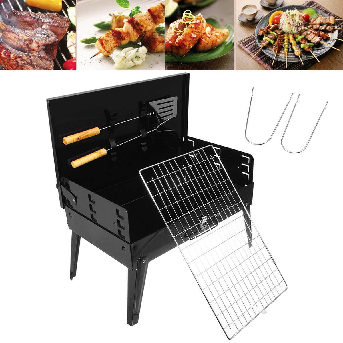 Barbecue Barbecue Barbecue pliant Portable charbon de bois Camping jardin extérieur avec outils acier inoxydable avec 4 pieds pliables réglable