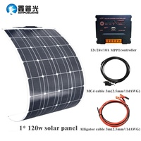 Гибкая панель солнечных батарей 120 Вт 18 в солнечное зарядное устройство для автомобильного аккумулятора 12 В монокристаллические кремниевы