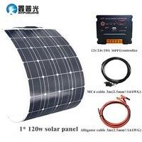 Гибкая солнечная панель пластина 120 Вт 18 в солнечное зарядное устройство для автомобиля батарея 12 В монокристаллические кремниевые ячейки