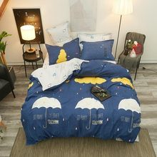 Fashion Cartoon Simple Polyester Bedding Set Soft And Comfortable Duvet Cover Bed Linen Bed Sheet Pillowcase King Queen Full(China)