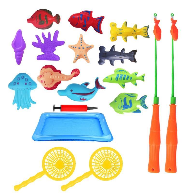 18 Pcs Kids Magnetische Vissen Speelgoed Set Met Opblaasbare Zwembad Netto Magneet Hengel Grappige Klassieke Speelgoed Voor Kinderen Gift