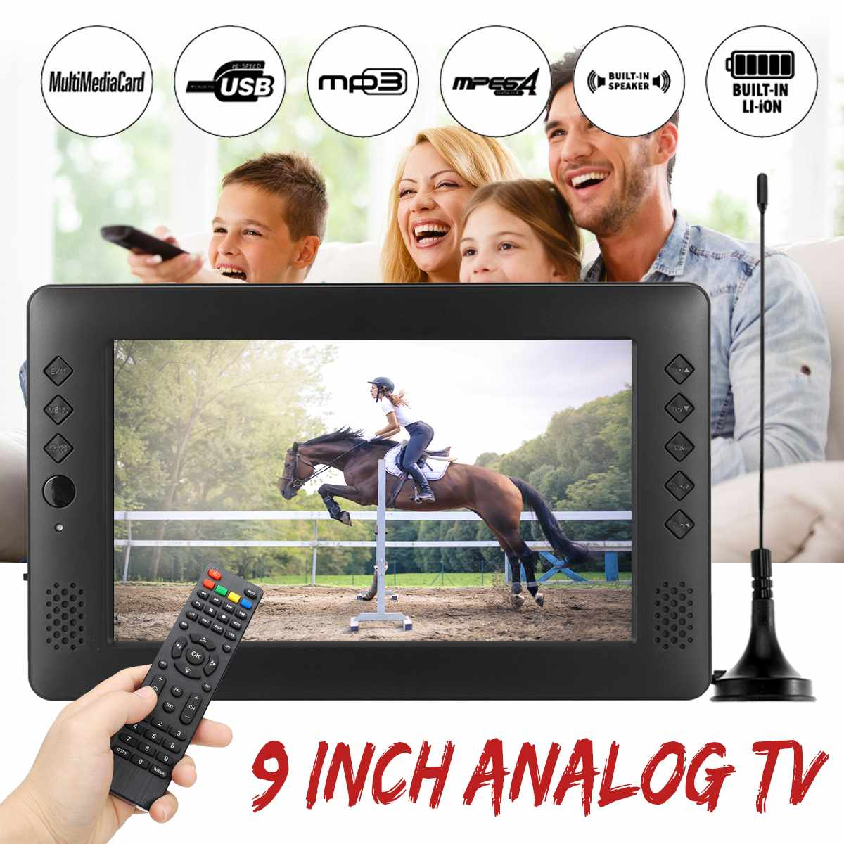 12V 9 zoll HD Tragbare Mini WiFi Digital und Analog TV DVB-T2 DVB-T DTV ATV Auto Smart Fernsehen Unterstützung USB TF Karte MP4