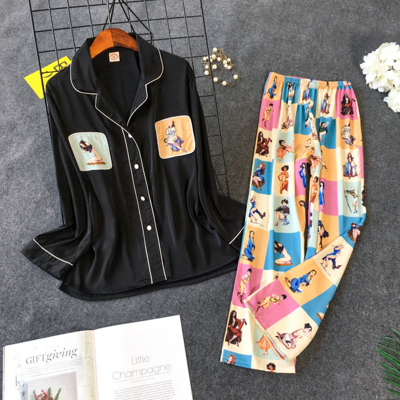 2019 New Printing Pajama Set Woman Korean Sweet Lovely Rayon Long Sleeve Trousers Twinset Pijama 35