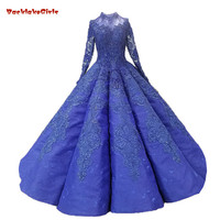BacklakeGirls 2018 Long Sleeves Royal Blue Lace Arabic Muslim Wedding Dress O neck Floor length Waves Ball Gown Lace Bridal Gown