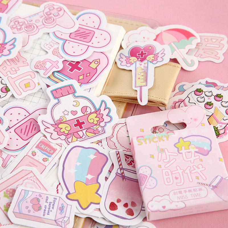 46Pcs/Box Cute Cat Stickers Kawaii Flamingo Stickers Bullet Journal Stickers For Kids DIY Diary Scrapbooking Decor Supplies Toys