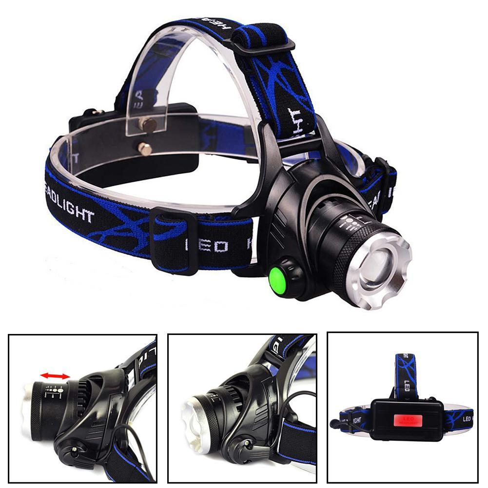 1200LM T6 LED Zoom Headlamp Head Torch Headlight+18650 Batteries + Charger Good Quality