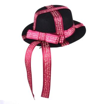 Lolita Gothic Fascinator For Women Satin Bow Ribbons Mini Top Hat Ladies Banquet Mini Hats Hair Clip Accessory