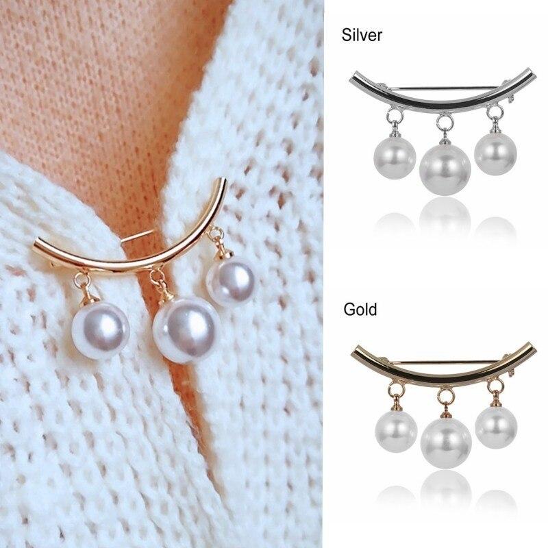 Buckle Pins Dress-Decoration Simulated-Pearl-Cardigan Anti-Slip-Brooch Anti-Wearing Simple