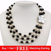 LiiJi Unique New Fashion Natural Freshwater Pearl 3 Rows 7 8mm White Pearl Black Onyx Necklace Shell Flower Clasp 18''/45cm