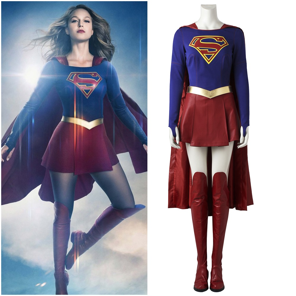 2017 Supergirl Kara Zor El Cosplay Costume Women's Halloween Fancy Outfit