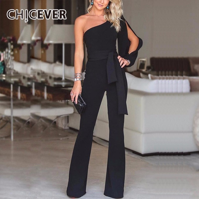 CHICEVER Off Shoulder Sexy Plus Size   Jumpsuits   For Women Lace Up Irregular Slim Straight Pants Female   Jumpsuit   Summer Fashion