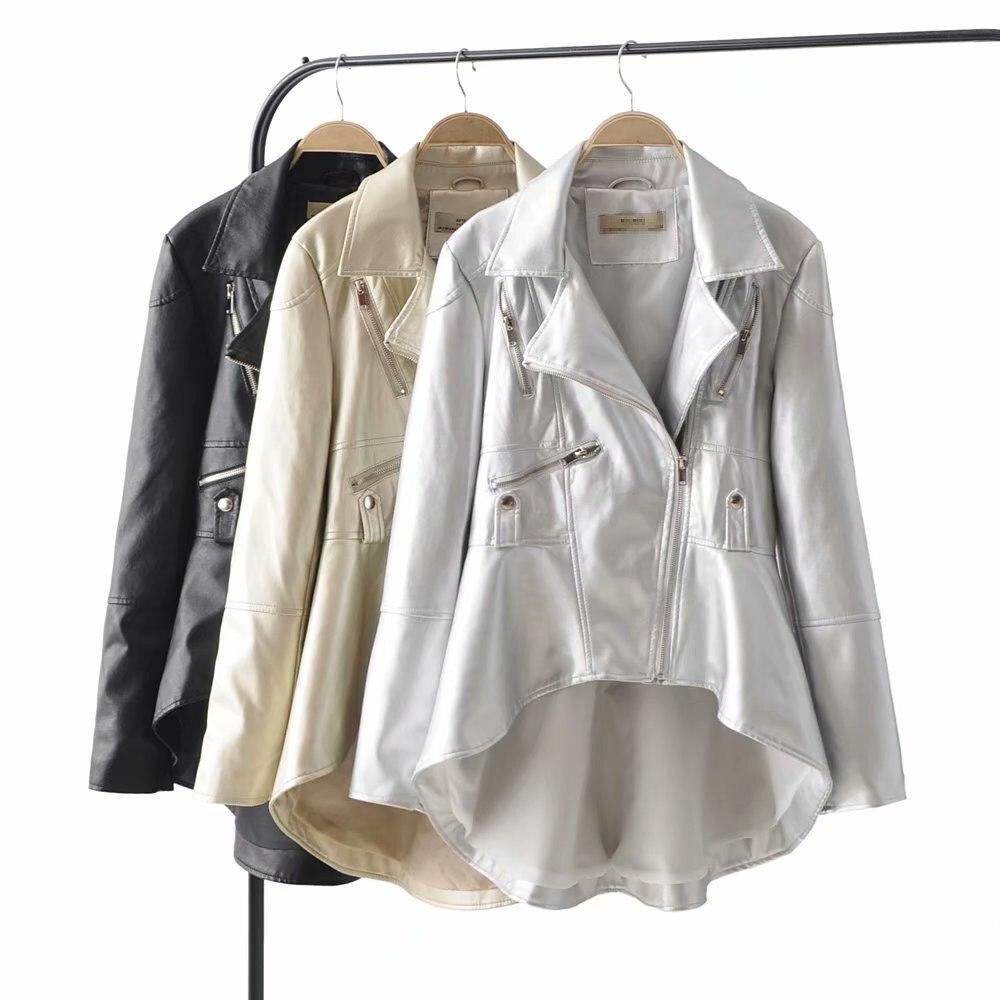 2019 New Long Sleeve Pu   Leather   Jacket Coat Women Spring Autumn Solid Zipper Irregular Jacket Streetwear Casual Loose Outerwear