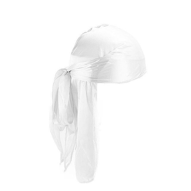 2019 New Unisex Long Silk Satin Breathable Turban Hat Wigs Doo Durag Biker Headwrap Chemo Cap Pirate Hat Men Hair Accessories 6