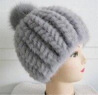pompom fur hat mink fur hats women winter warm cap pom pom fur womens knitted hats fashion warm beanies 6 colors white red H56
