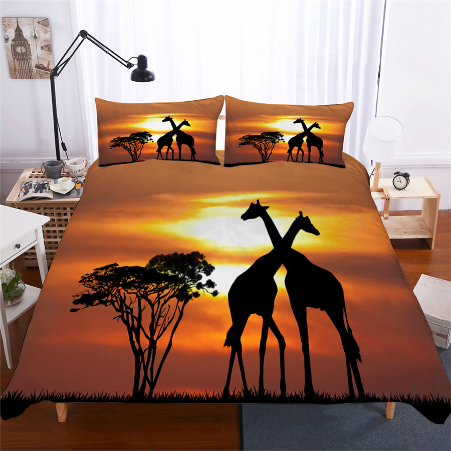 Bedding Set 3D Printed Duvet Cover Bed Set Giraffe Animal Home Textiles for Adults Lifelike Bedclothes with Pillowcase #CJL09-in Bedding Sets from Home & Garden